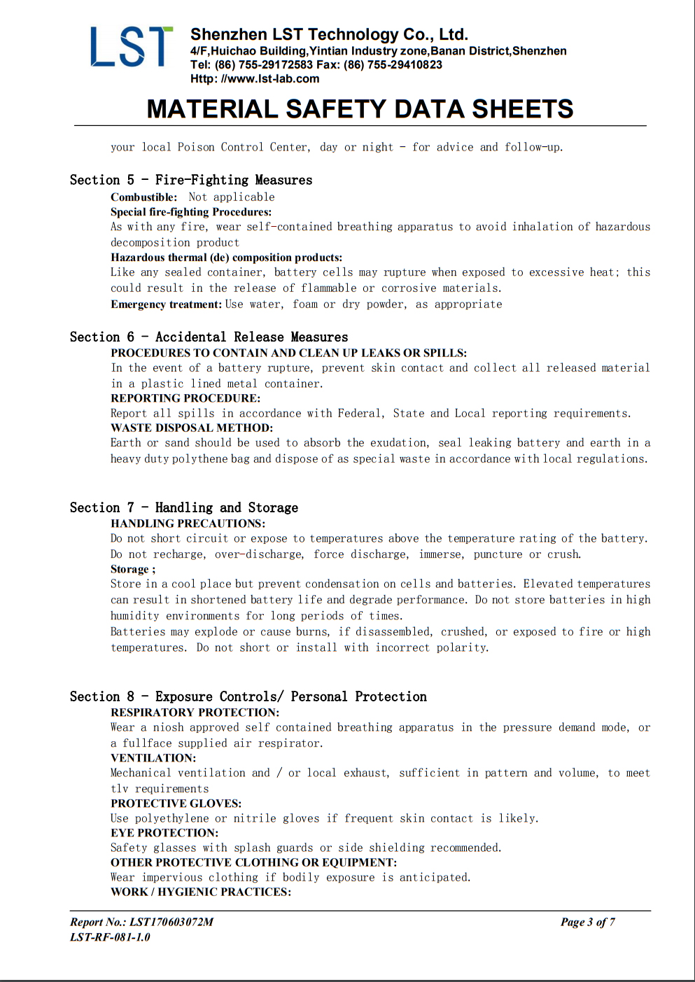 Material safety data sheet P3