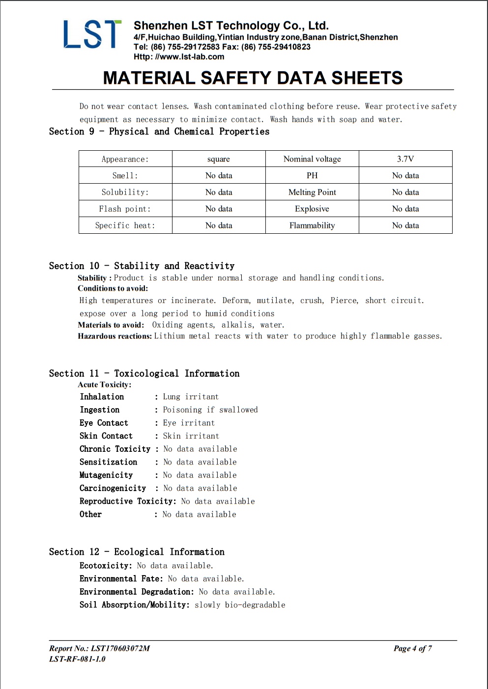 Material safety data sheet P4